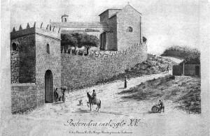 Porta e torre-de-trabancas. Aguatinta sobre papel