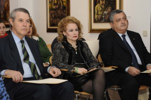 Cristóbal Colón de Carvajal (Izqda), su mujer y Ernesto Pedrosa (dcha)